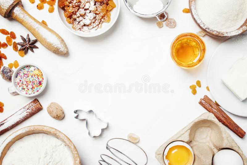 Easter baking ingredients, white food background, top view. Food still life stock images