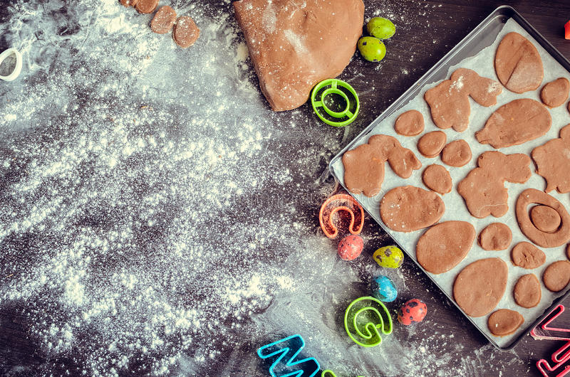 Easter baking preparation background stock photos