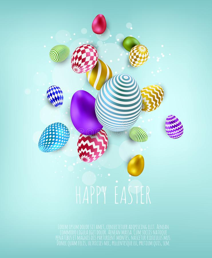 Easter banner background template with beautiful colorful eggs. Vector illustration stock illustration
