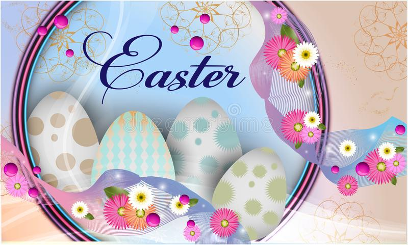 Easter banner background template with beautiful colorful spring flowers and eggs vector illustration