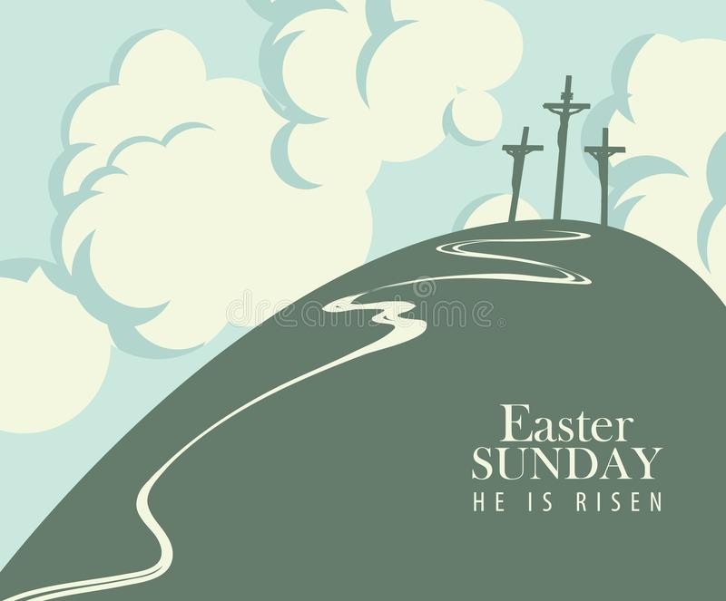 Easter banner with Calvary and three crucifixions. Vector Easter banner or card with words Easter Sunday, He is risen. The landscape on the religious theme with royalty free illustration