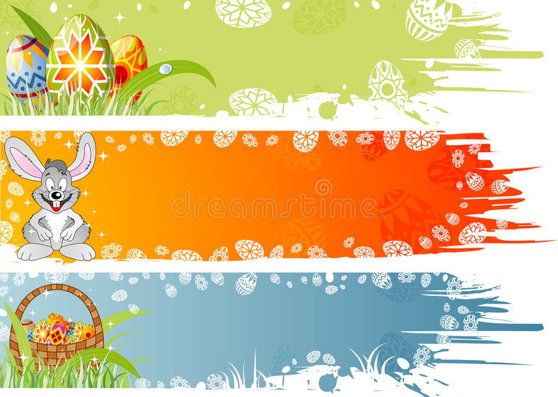 Easter banner with eggs, rabbi royalty free stock photos