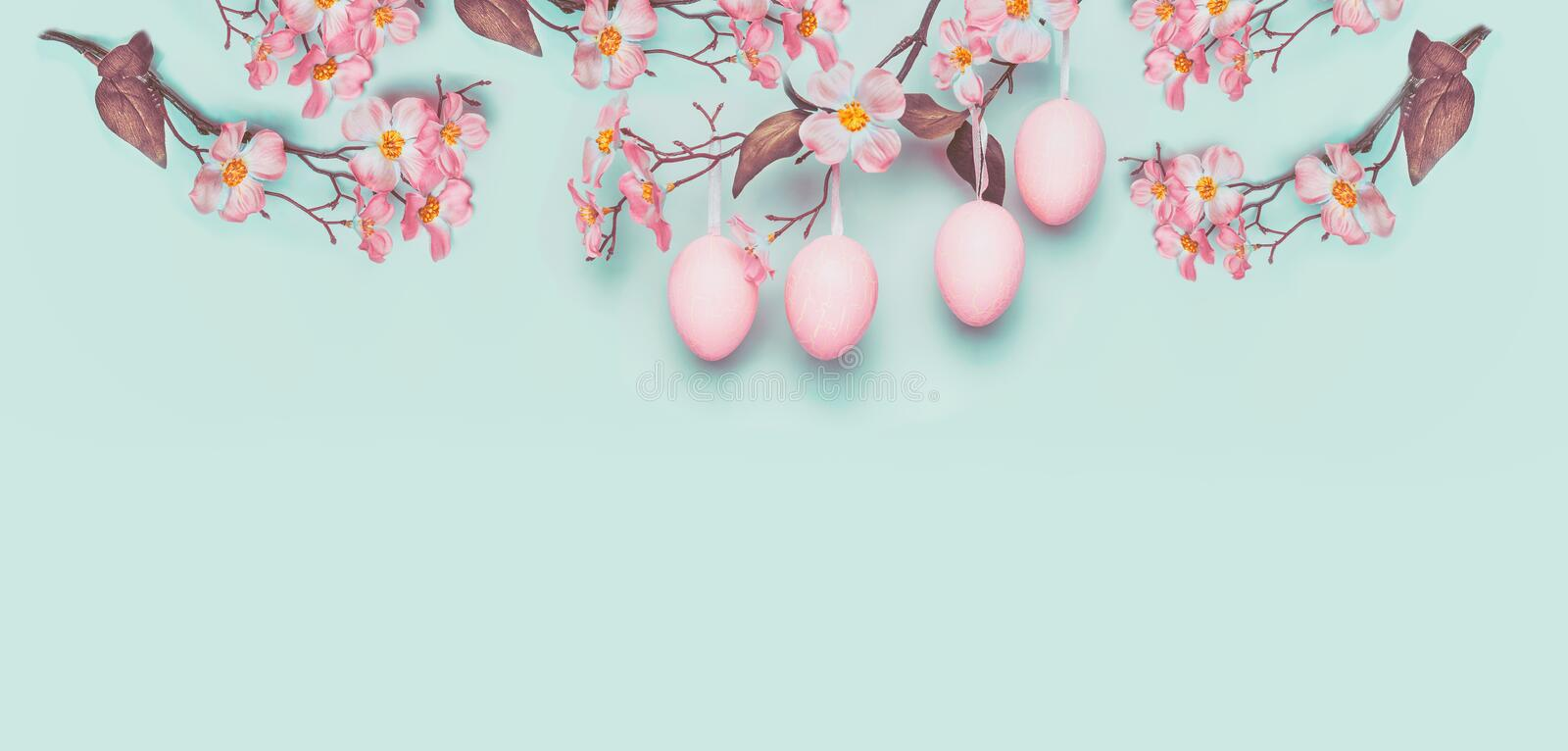 Easter banner with hanging pastel pink Easter eggs and spring blossom at light at blue turquoise background. Copy space stock photos