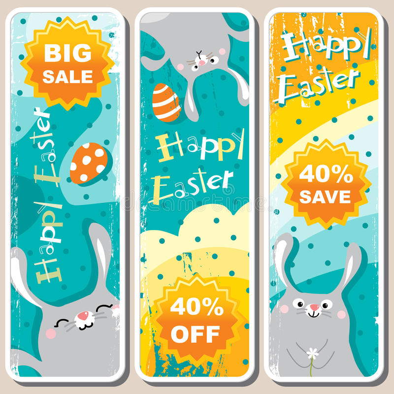 Easter banners. Easter sale banners cartoon bunny collection