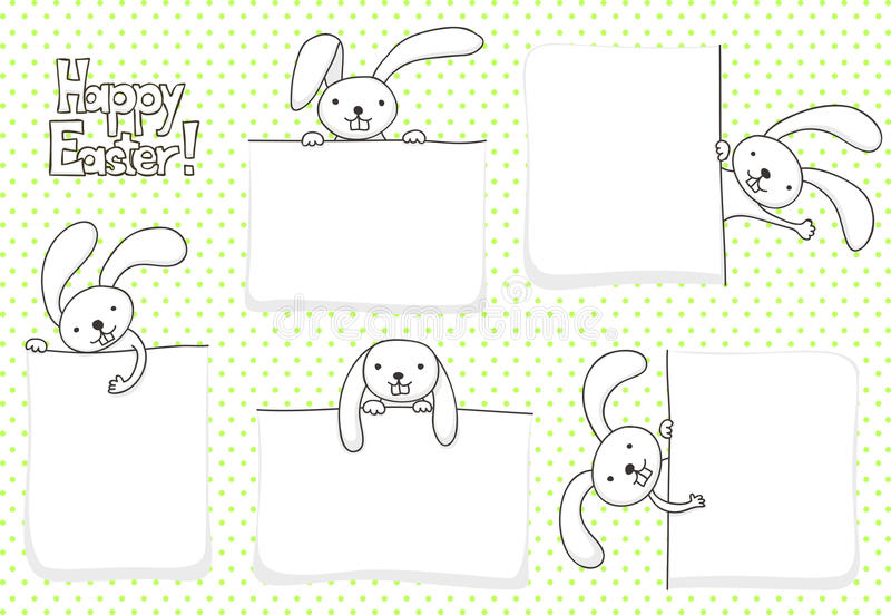 Easter banners. Collection of blank banners with bunnies for Easter