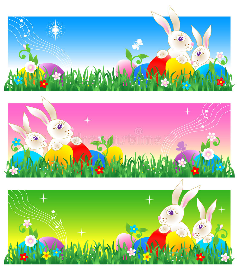 Easter banners or poster royalty free illustration