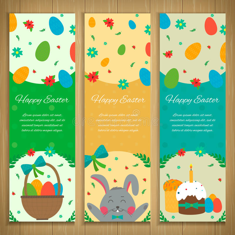 Easter Banners set with rabbit and easter eggs. Vector stock illustration