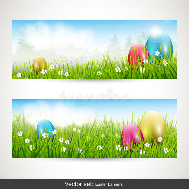 Easter banners - vector set royalty free illustration