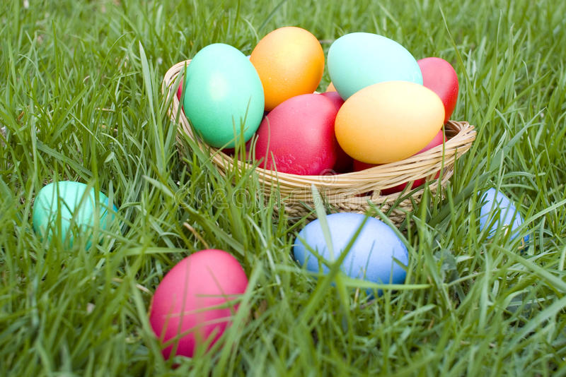 Download Easter basket stock image. Image of lawn, meadow, overflowing - 19074063