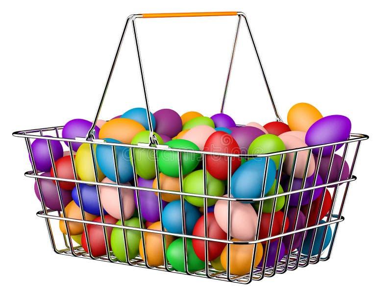 Easter Basket. Shopping basket full of easter eggs vector illustration