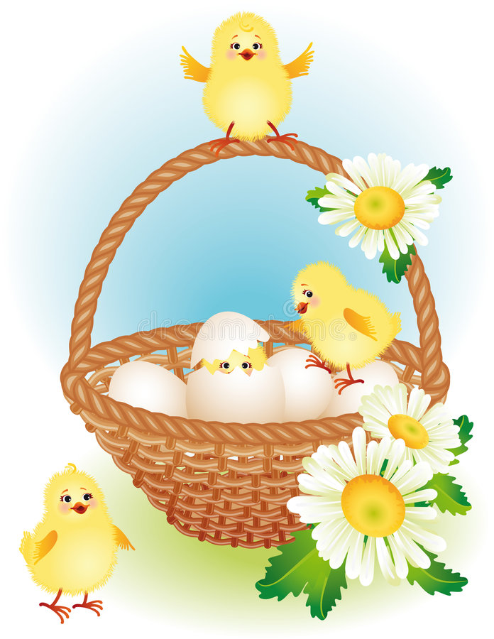 Easter basket. Vector illustration - easter greeting card