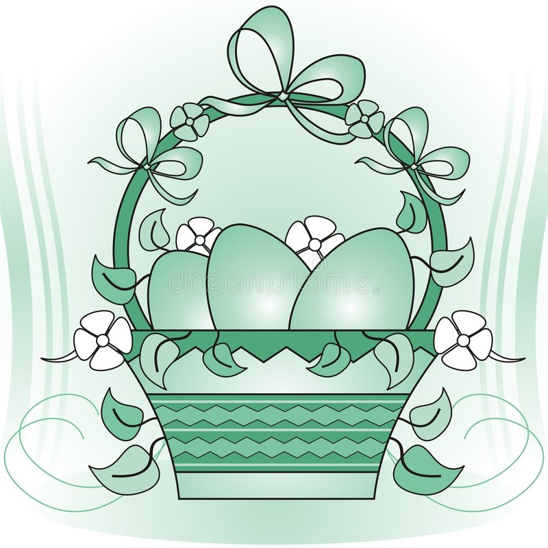 Download Easter basket stock vector. Image of green, flowers, white - 4245716