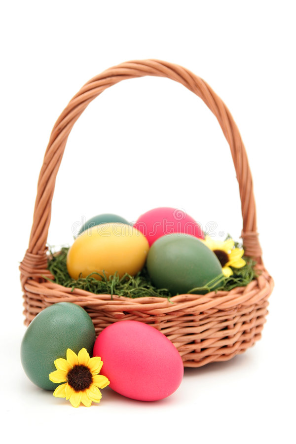 Easter Basket. With Easter Eggs stock image