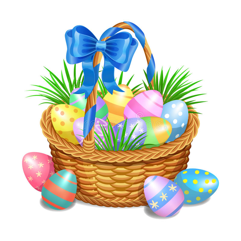 Easter basket with color painted easter eggs on white stock illustration