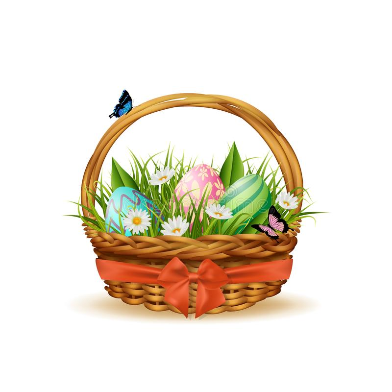 Easter basket with colorful eggs and grass. Vector royalty free stock photography