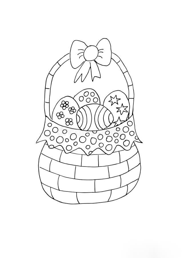 Easter Basket Colouring For Children Stock Illustration ...