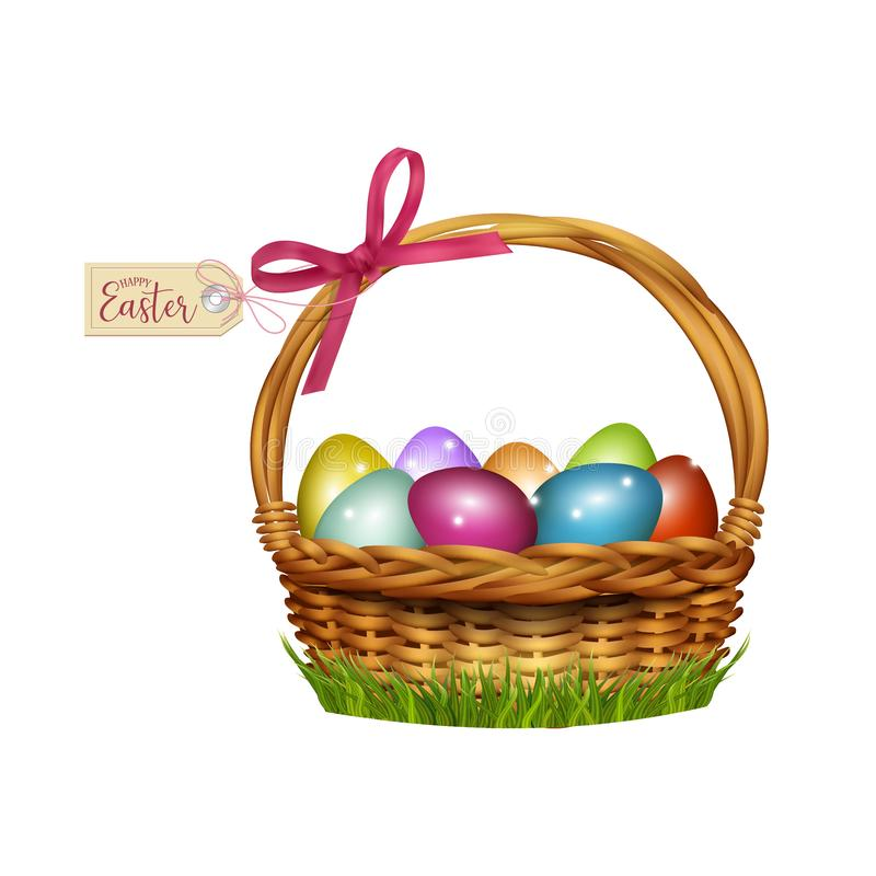 Easter wicker basket with colorful eggs. Vector stock photography