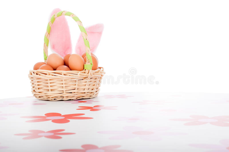 Easter Basket With Eggs Decoration Royalty Free Stock Images