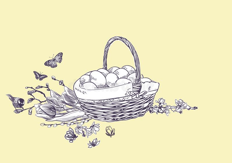 Easter basket eggs vector engrave card isolated vector illustration