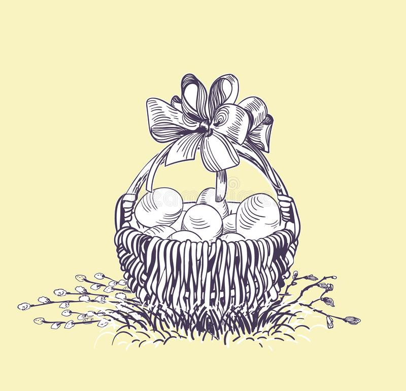Easter basket eggs vector engrave card isolated stock illustration