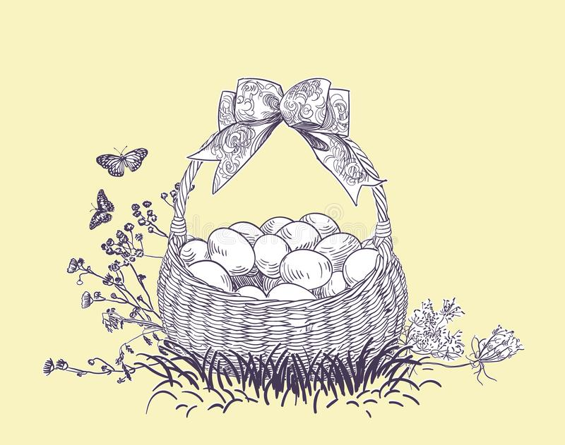 Easter basket eggs vector engrave card isolated royalty free illustration