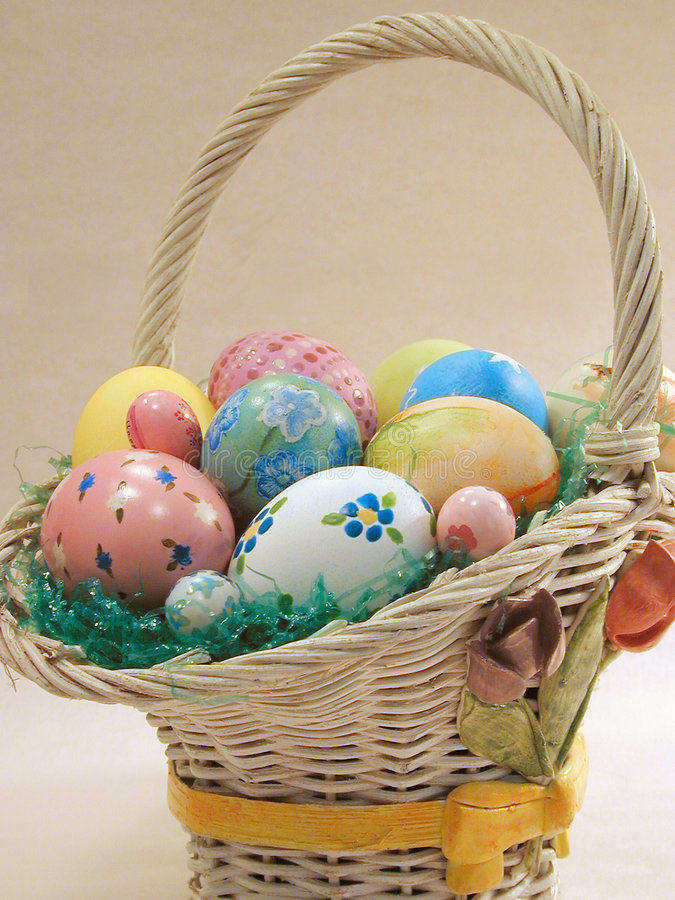 The Easter Basket full of Eggs. A basket full of gaily painted Easter eggs stock photography
