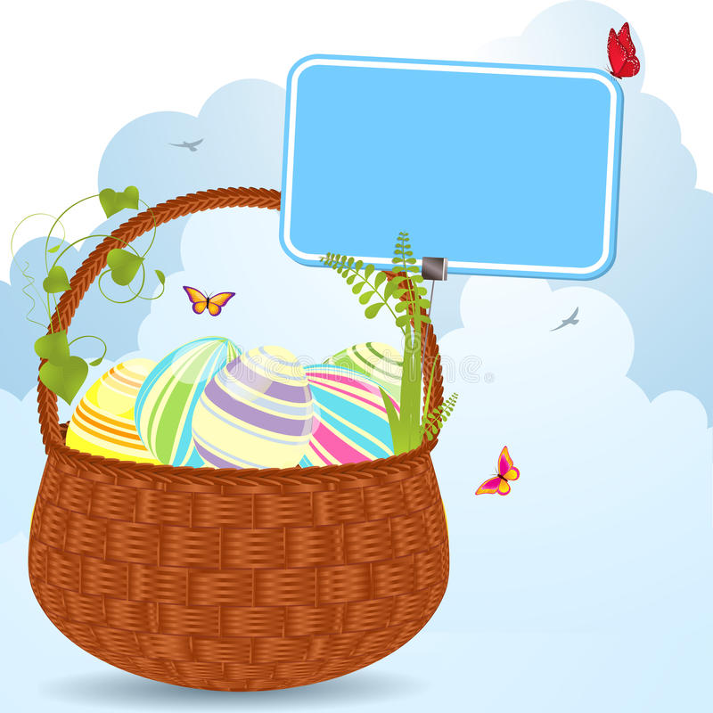 Easter basket and label royalty free illustration