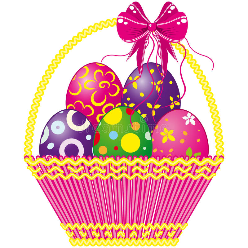 Easter basket with pink bow and a color eggs vector illustration
