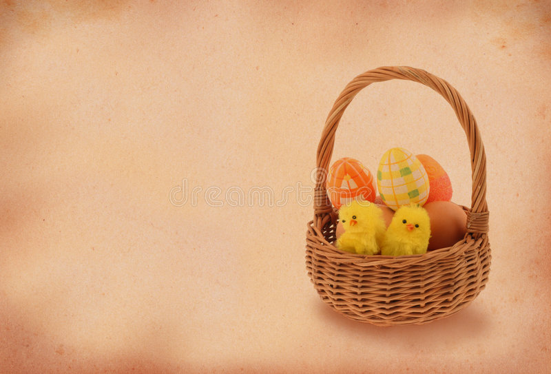 Easter basket with retro copy space.  stock images