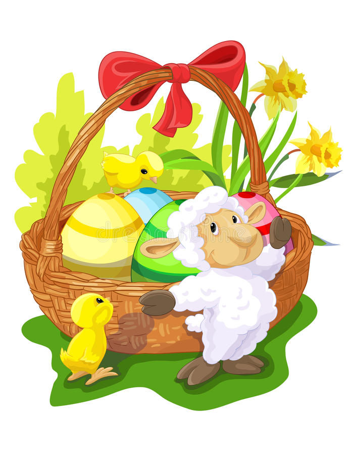 Easter basket with sheep and chickens stock images