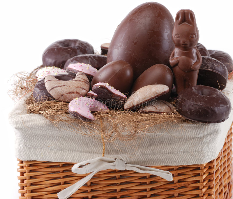 Easter basket with sweets stock photo