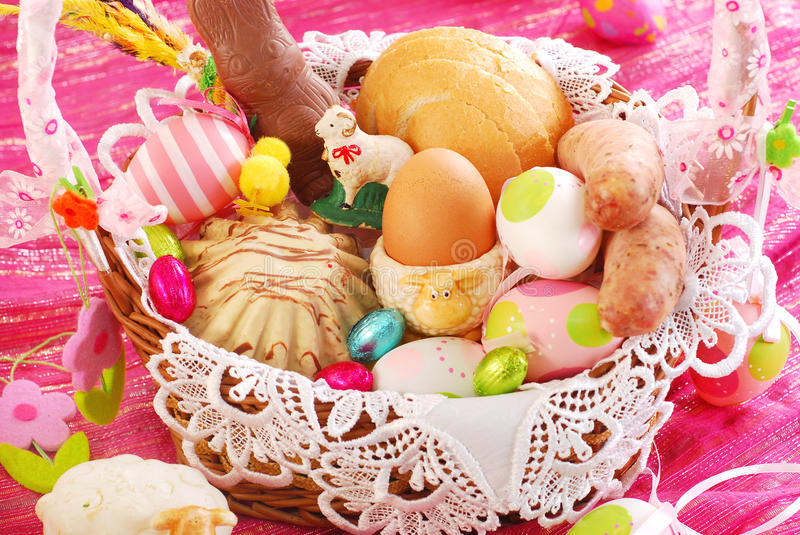 Easter basket with traditional food and decorations. Easter basket with traditional polish food and decorations royalty free stock photography
