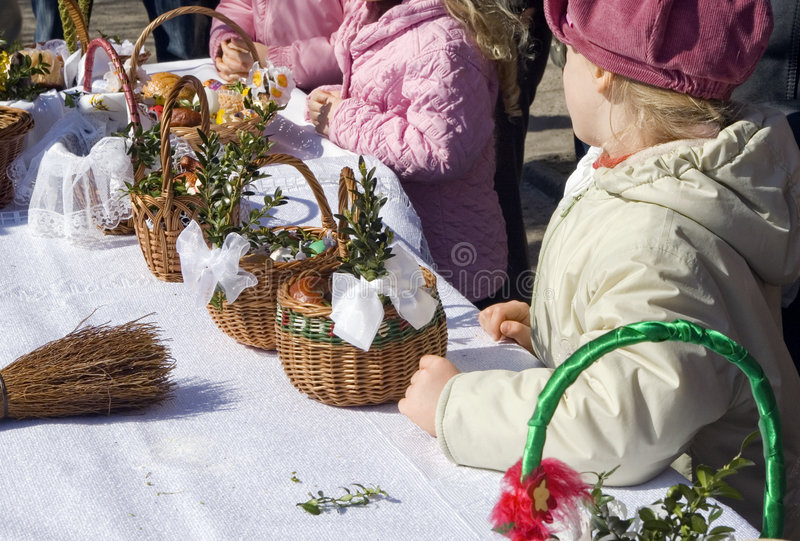 Easter baskets in Poland stock photo