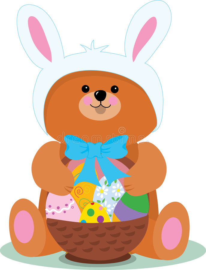 Easter Bear. A teddy bear dressed as an Easter Bunny vector illustration