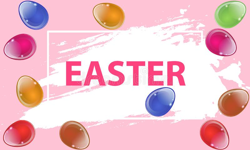 Easter billboard with Easter eggs royalty free illustration