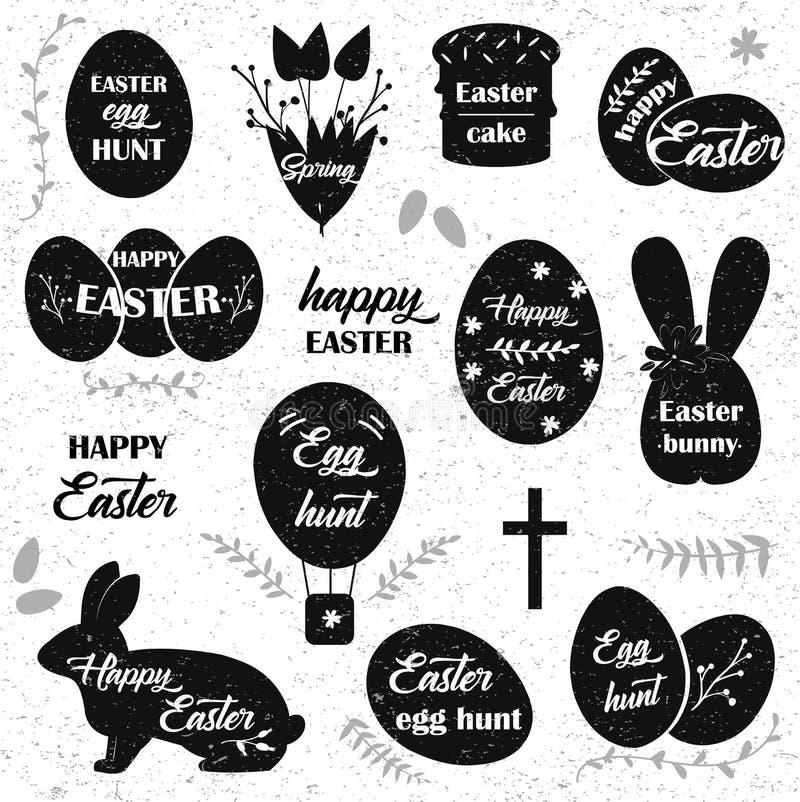 Easter. Black icons on white background. Easter eggs silhouette. vector illustration