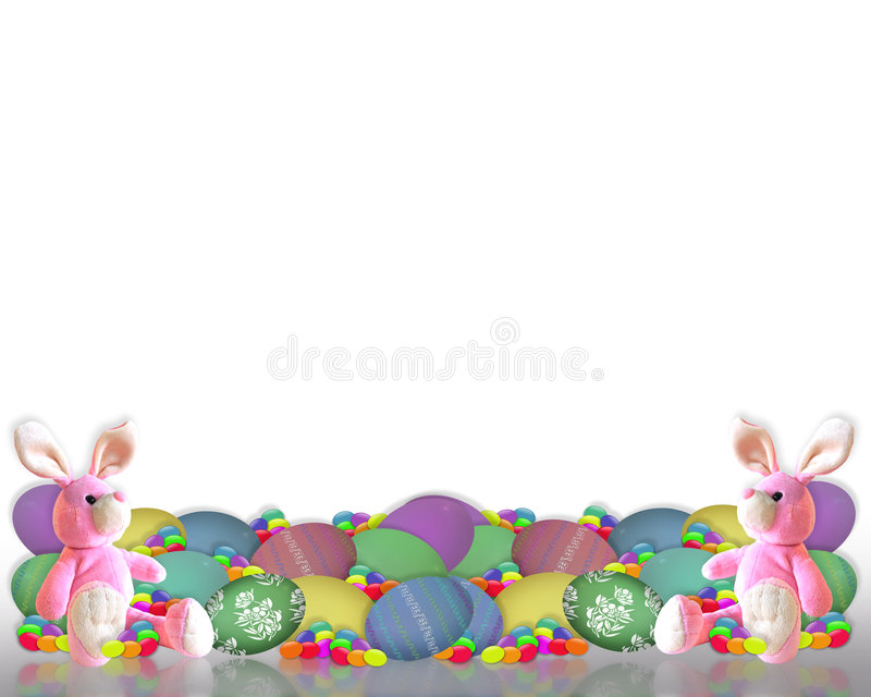Easter Border Bunny Eggs Candy Royalty Free Stock Images