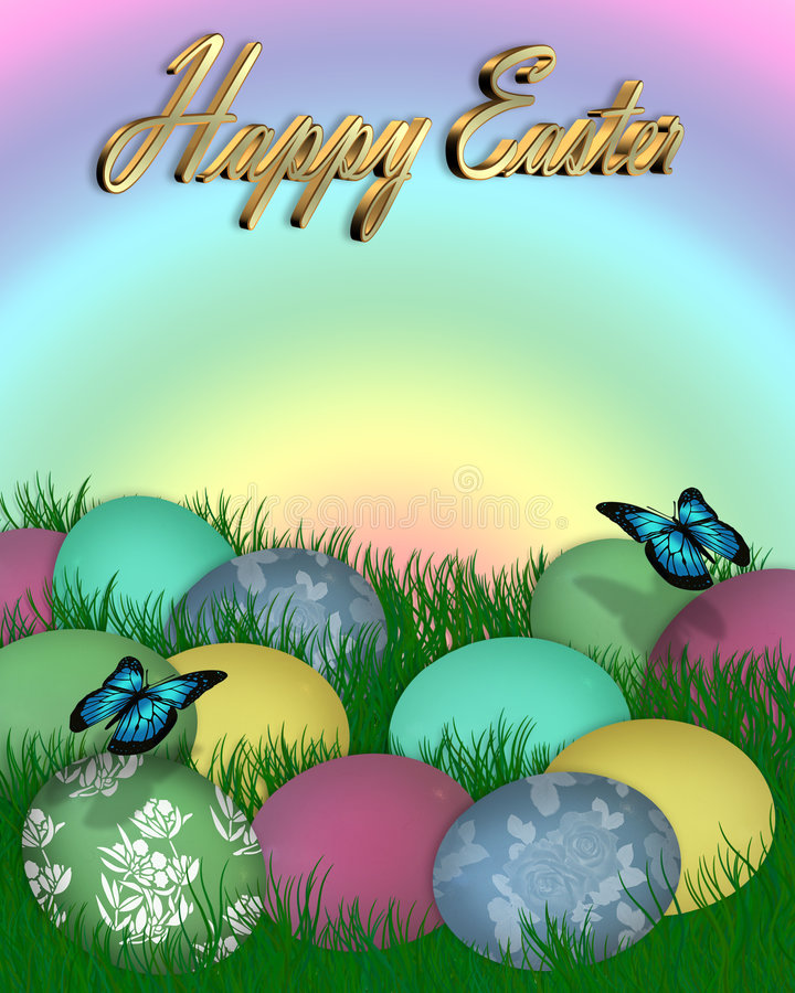 Easter Border Eggs in Grass 3D text royalty free illustration