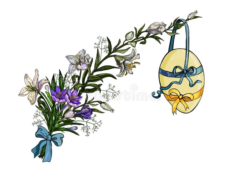 Easter bouquet of flowers with egg hanging on the ribbon in vintage style isolated on white vector illustration