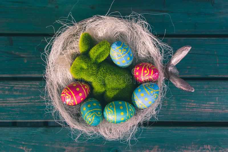 Easter chocolate eggs in a bowl royalty free stock photo
