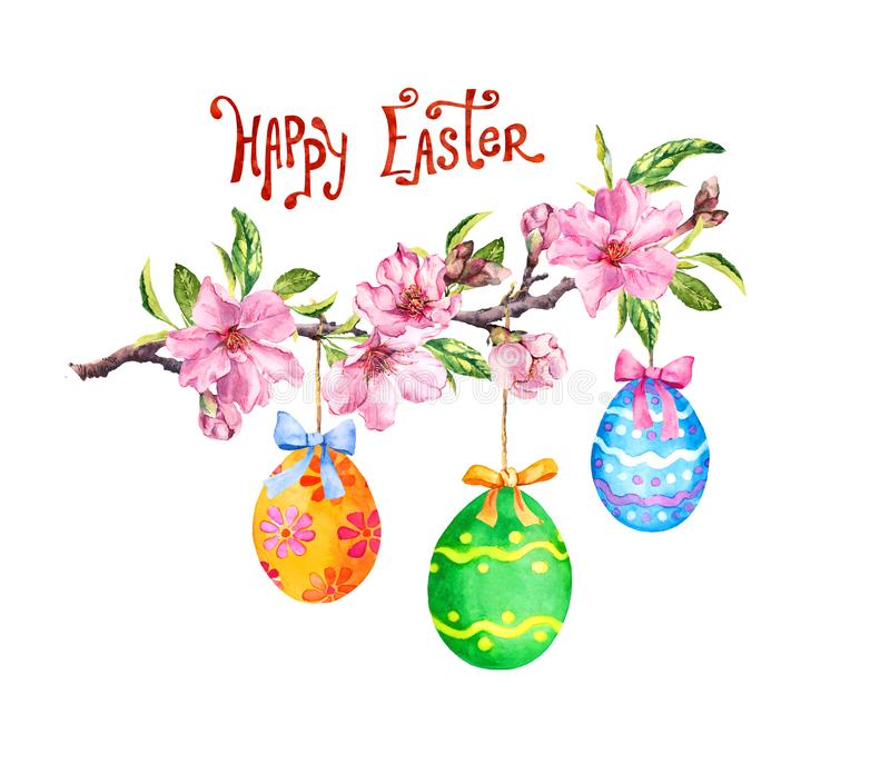 Easter branch, colored eggs, spring pink flowers. Watercolor with text Happy Easter stock illustration