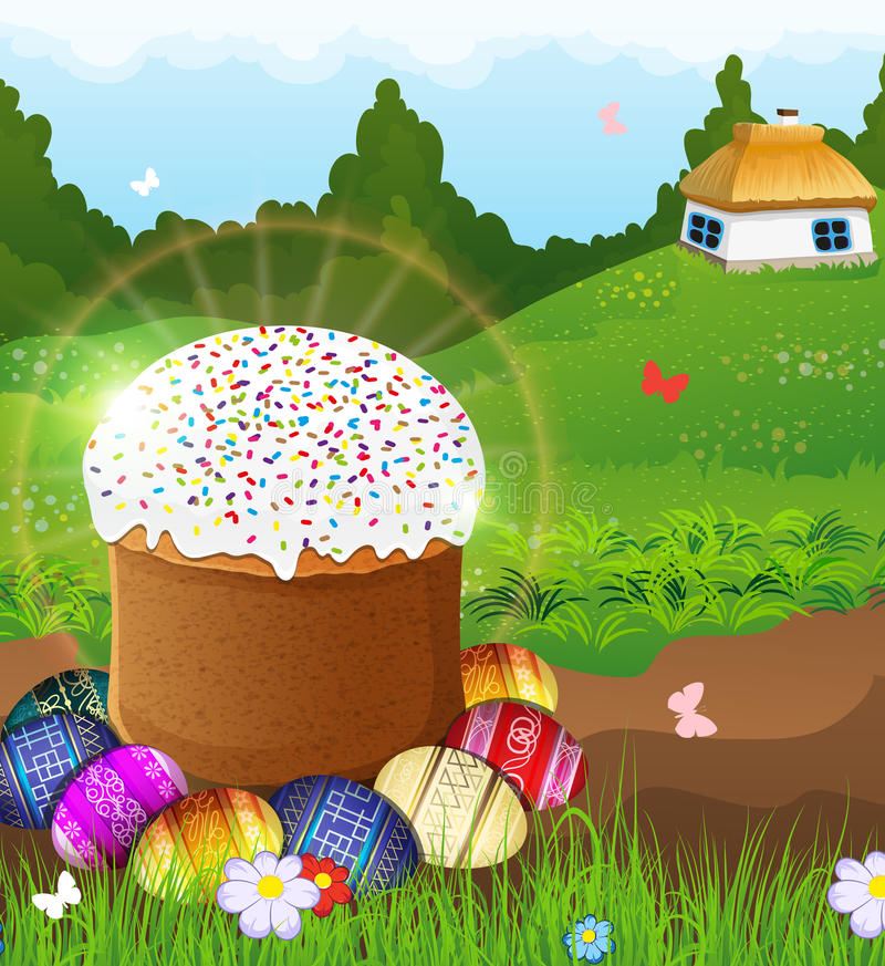 Easter bread and painted eggs on the meadow. stock illustration