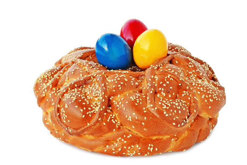 Easter bread on white royalty free stock photos