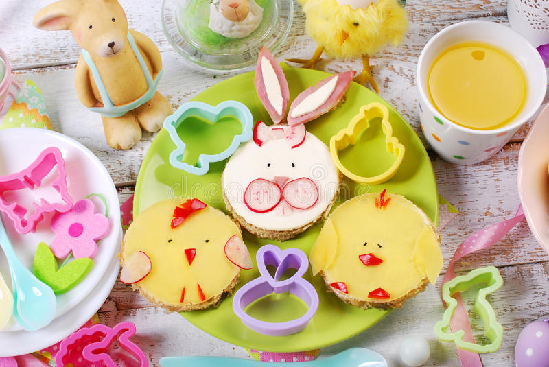 Easter breakfast for kids with funny sandwiches stock image