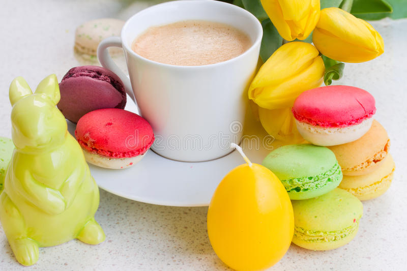 Easter breakfast with macaroons royalty free stock photos