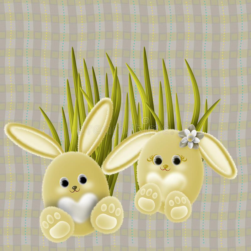 Easter Bunnies vector illustration