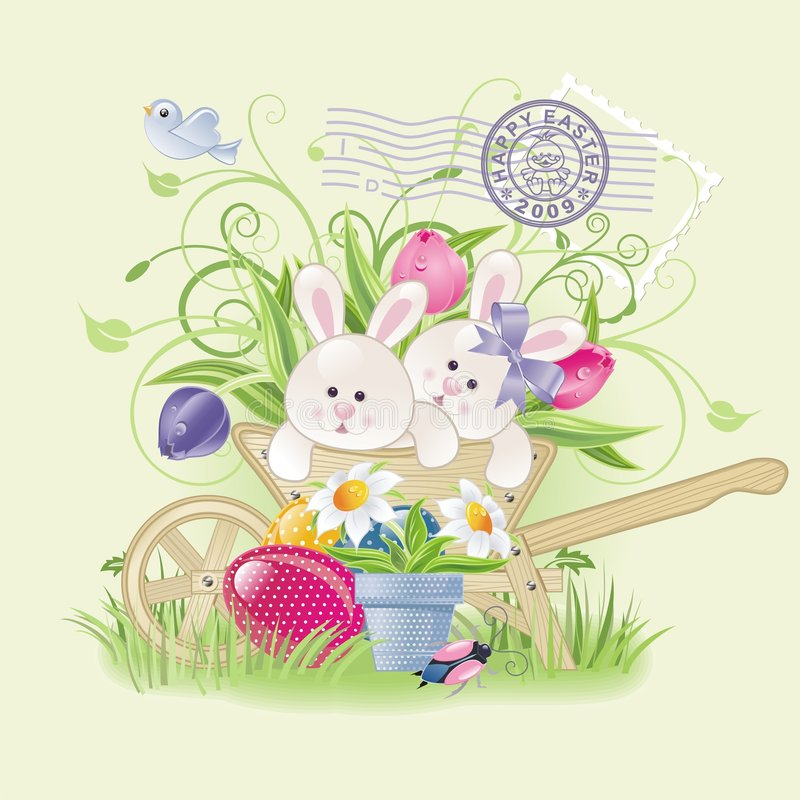 Easter bunnies. Vector background with cute bunnies in handcart, easter eggs and flowers