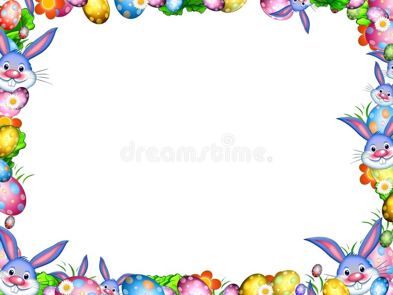 Easter bunnies with colorful eggs and flowers border frame