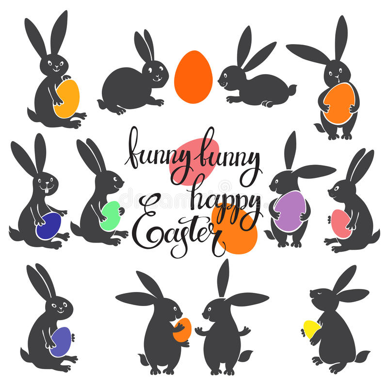 Easter Bunnies with colorful eggs. Vector illustration. Easter collection elements for design and lettering. Easter set with funny rabbits and lettering royalty free illustration