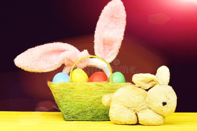 Easter bunnies composition stock photo